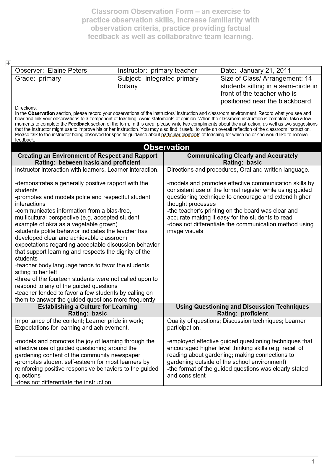 classroom Observation pg 1 of 3