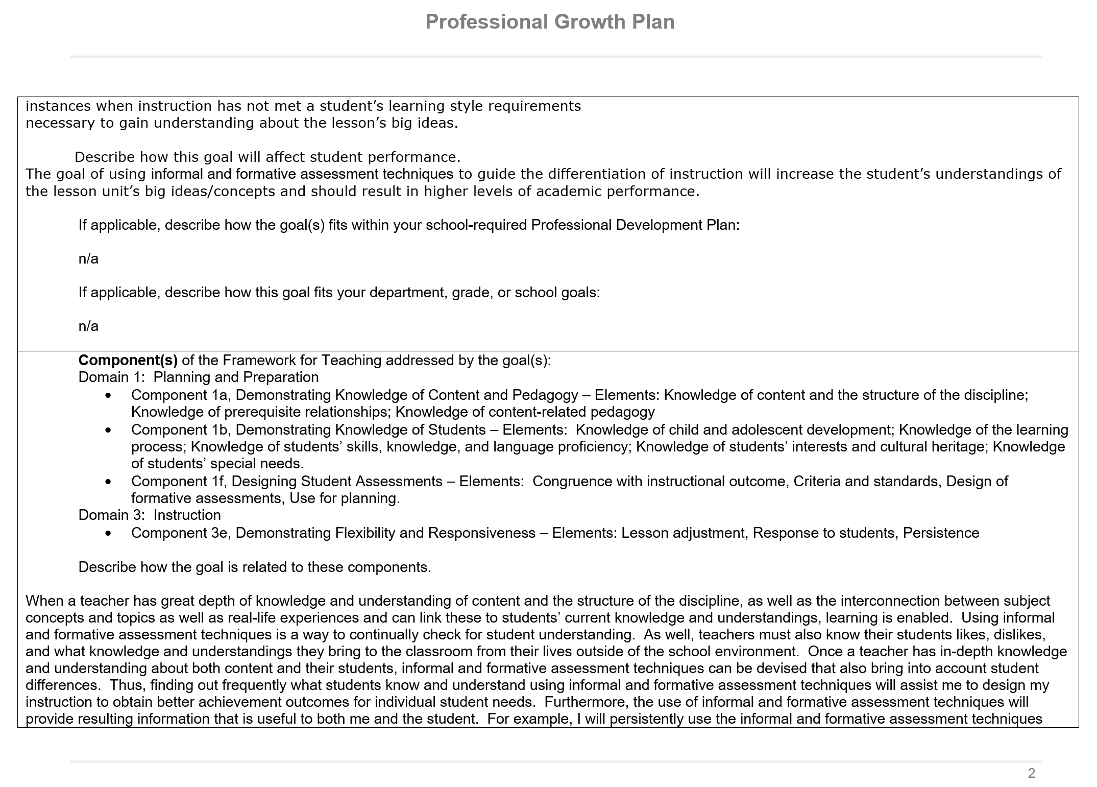 professional growth plan p 2 of 7
