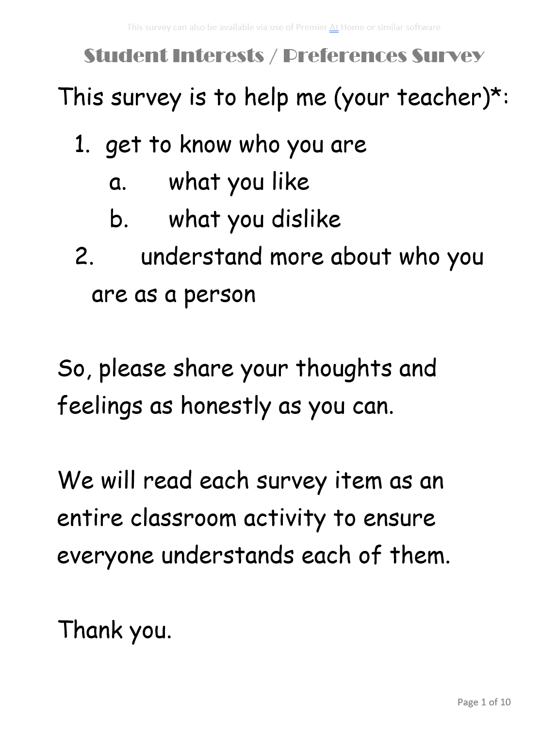 student interests-preferences survey - page 1 of 10 - Artifact Collection