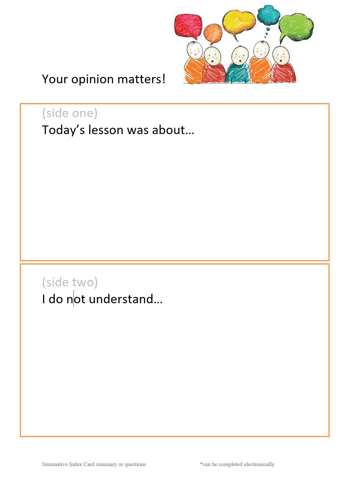 summative index card for student - learner feedback