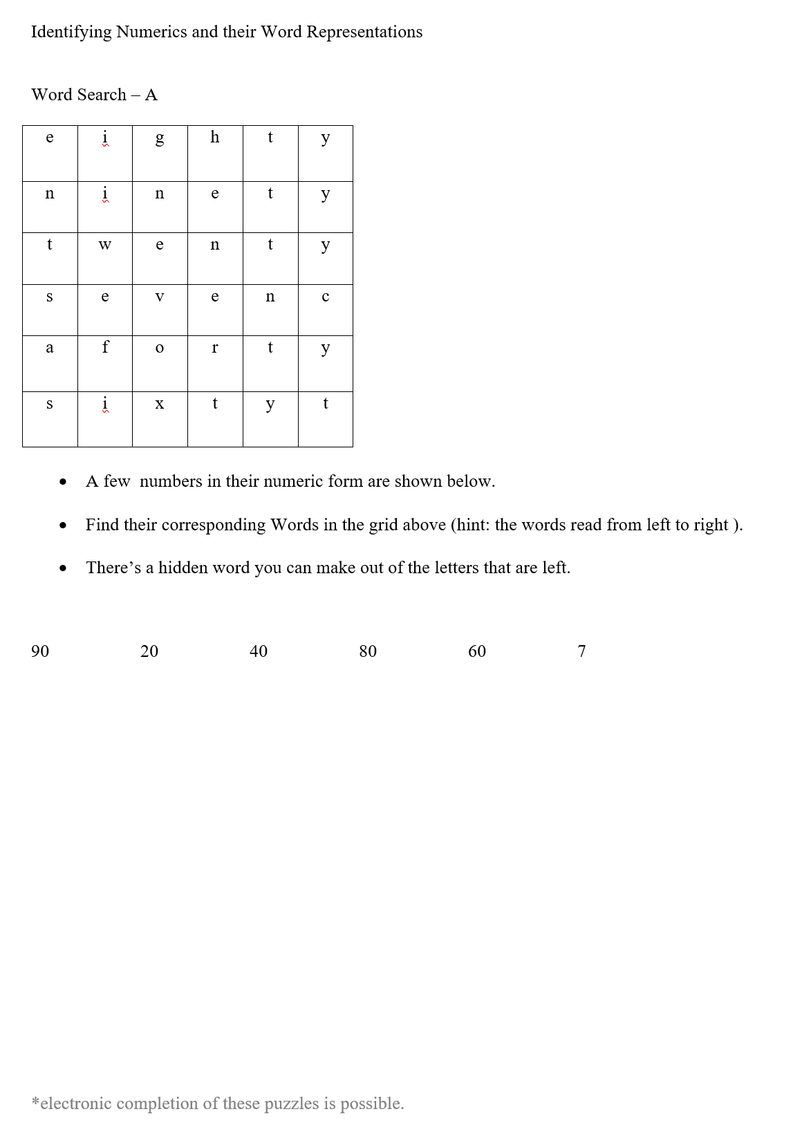 word searches re_ finding number word representations pg 1 of 4
